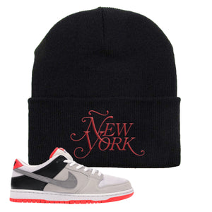 Nike SB Dunk Low Infrared Orange Label Ñew York Black Beanie To Match Sneakers