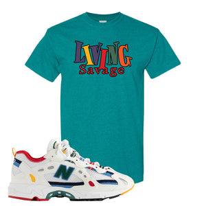827 Abzorb Multicolor White Aime Leon Dore Sneaker Antique Jade Dome T Shirt | Tees to match 827 Abzorb Multicolor White Aime Leon Dore Shoes | Living Savage