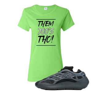 Yeezy Boost 700 V3 Alvah Sneaker Neon Green Women's T Shirt | Women's Tees match Adidas Yeezy Boost 700 V3 Alvah Shoes | Them 700's Tho!
