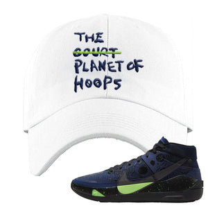 KD 13 Planet of Hoops Dad Hat | Planet Of Hoops Lettering, White
