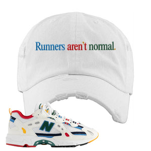 Aime Leon Dore X New Balance 827 Abzorb Multicolor 'White' Distressed Dad Hat | White, Runners Aren't Normal