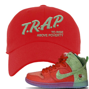 SB Dunk High 'Strawberry Cough' Dad Hat | Red, Trap To Rise Above Poverty