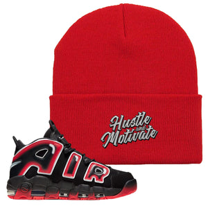 Air More Uptempo Laser Crimson Beanie | Red, Hustle & Motivate