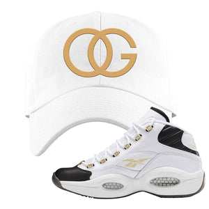 Question Mid Black Toe Sneaker White Dad Hat | Hat to match Reebok Question Mid Black Toe Shoes | OG