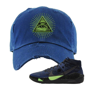 KD 13 Planet of Hoops Distressed Dad Hat | All Seeing Eye, Navy