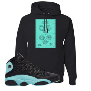 Diamond Patent Black Pullover Hoodie To Match Jordan 13 Island Green Sneakers