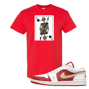 Air Jordan 1 Low Spades T Shirt | Bone Cards, Red