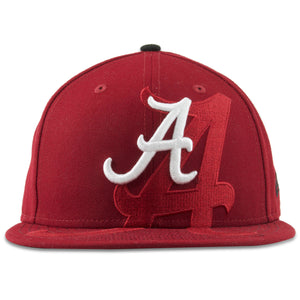 The Alabama spillover maroon snapback hat has the Alabama logo embroidered in white