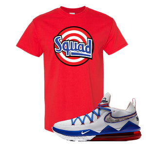 LeBron 17 Low Tune Squad Sneaker Red T Shirt | Tees to match Nike LeBron 17 Low Tune Squad Shoes | Squad