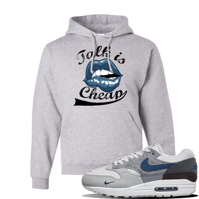 Air Max 1 'London City Pack' Sneaker Ash Pullover Hoodie | Hoodie to match Nike Air Max 1 'London City Pack' Shoes | Talk is Cheap