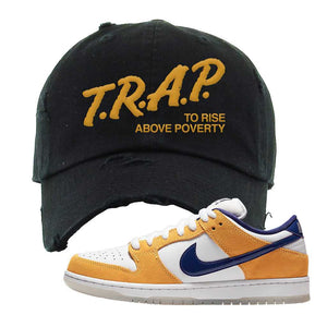 SB Dunk Low Laser Orange Distressed Dad Hat | Black, Trap To Rise Above Poverty