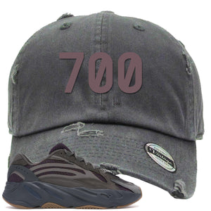"Yeezy Boost 700 Geode Sneaker Hook Up ""700"" Gray Distressed Dad Hat"