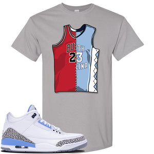 Air Jordan 3 UNC Sneaker Gravel T Shirt | Tees to match Nike Air Jordan 3 UNC Shoes | Hustle Hard