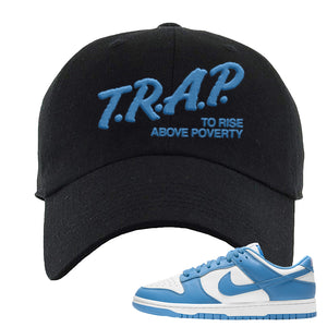 SB Dunk Low University Blue Dad Hat | Trap To Rise Above Poverty, Black