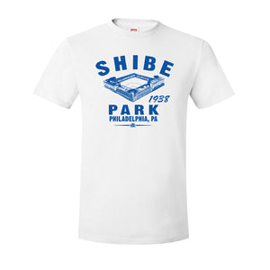 Shibe Park Retro T-Shirt | Shibe Park Vintage Royal Blue T-Shirt the front of this shibe park shirt has the stadium and text in blue along with the year that the phillies joined the stadium