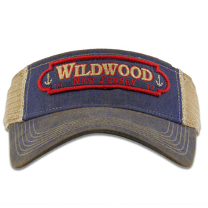 Wildwood New Jersey 1912 Double Anchors Patch Vacation Resort Blue / Khaki Mesh Visor