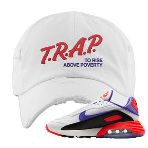 Air Max 2090 Evolution Of Icons Distressed Dad Hat | Trap To Rise Above Poverty, White