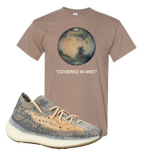 Yeezy Boost 380 Mist Sneaker Brown Savanna T Shirt | Tees to match Adidas Yeezy Boost 380 Mist Shoes | Covered In Mist