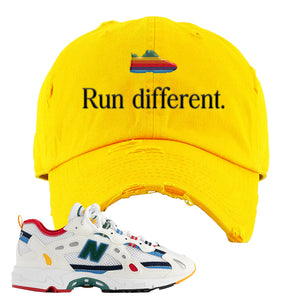 Aime Leon Dore X New Balance 827 Abzorb Multicolor 'White' Distressed Dad Hat | Gold, Run Different