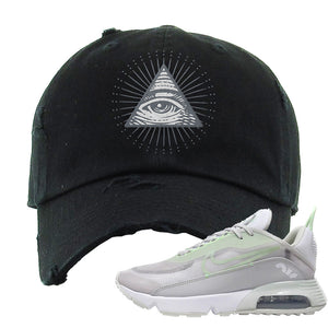 Air Max 2090 'Vast Gray' Distressed Dad Hat | Black, All Seeing Eye