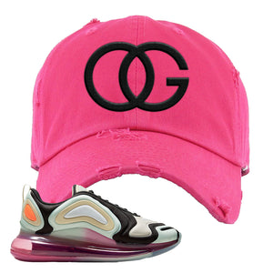 Air Max 720 WMNS Black Fossil Sneaker Pink Distressed Dad Hat | Hat to match Nike Air Max 720 WMNS Black Fossil Shoes | OG