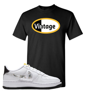 Air Force 1 T Shirt | Black, Vintage Oval
