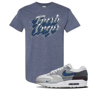 Air Max 1 'London City Pack' Sneaker Heather Navy T Shirt | Tees to match Nike Air Max 1 'London City Pack' Shoes | Fresh Creps Only