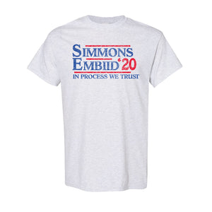 Simmons and Embiid 2020 T-Shirt | Ben Simmons and Joel Embiid 2020 Ash T-Shirt the front of this shirt has the simmons embiid 2020 logo