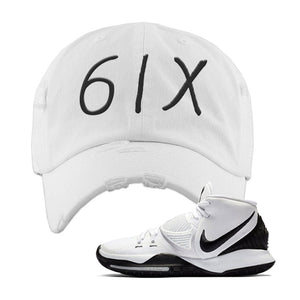 Kyrie 6 Oreo Distressed Dad Hat | White, 6ix