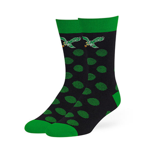 Philadelphia Eagles Polka Dots Black/Kelly Green Throwback Logo Socks