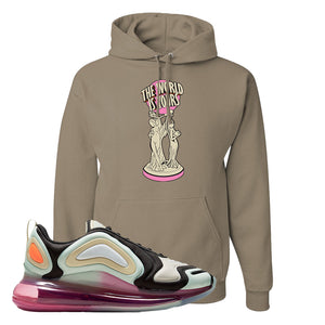Air Max 720 WMNS Black Fossil Sneaker Khaki Pullover Hoodie | Hoodie to match Nike Air Max 720 WMNS Black Fossil Shoes | The World Is Yours Statue