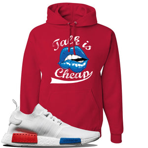 NMD R1 V2 White Red Blue Sneaker Red Pullover Hoodie | Hoodie to match Adidas NMD R1 V2 White Red Blue Shoes | Talk Is Cheap