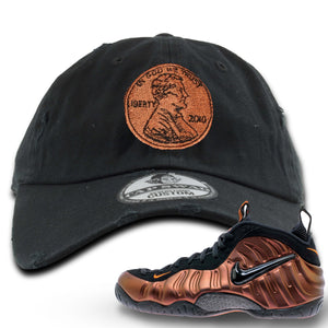 Foamposite Pro Hyper Crimson Sneaker Hook Up Penny Logo Black Distressed Dad Hat