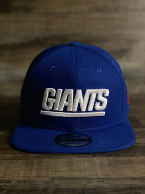 front of Giants snapback throwback logo | Giants word block snapback | royal blue | 950 snapback