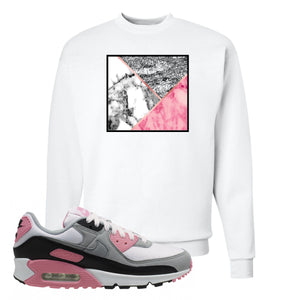 WMNS Air Max 90 Rose Pink Marble Mosaic White Crewneck Sweatshirt To Match Sneakers