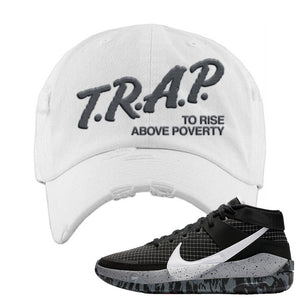 KD 13 Oreo Distressed Dad Hat | Trap To Rise Above Poverty, White
