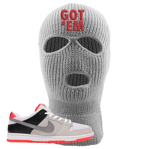 Nike SB Dunk Low Infrared Orange Label Got Em Light Gray Ski Mask To Match Sneakers