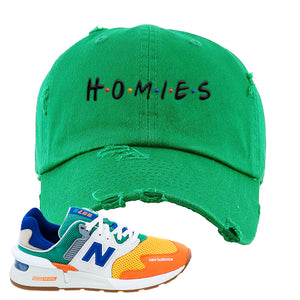 997S Multicolor Sneaker Kelly Distressed Dad Hat | Hat to match New Balance 997S Multicolor Shoes | Homies