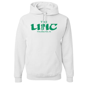 The Linc Birds Lettering Pullover Hoodie | The Linc Birds Lettering White Pullover Hoodie the front of this hoodie has the linc name in retro birds lettering