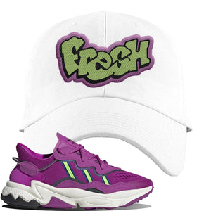 Ozweego Vivid Pink Sneaker White Dad Hat | Hat to match Adidas Ozweego Vivid Pink Shoes | Fresh