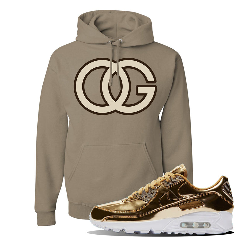 Air Max 90 WMNS 'Medal Pack' Gold Sneaker Khaki Pullover Hoodie | Hoodie to match Nike Air Max 90 WMNS 'Medal Pack' Gold Shoes | OG