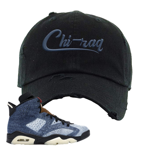 Air Jordan 6 Washed Denim Carp Pattern Black Sneaker Hook Up Distressed Dad Hat
