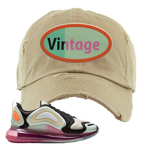 Air Max 720 WMNS Black Fossil Sneaker Khaki Distressed Dad Hat | Hat to match Nike Air Max 720 WMNS Black Fossil Shoes | Vintage Oval