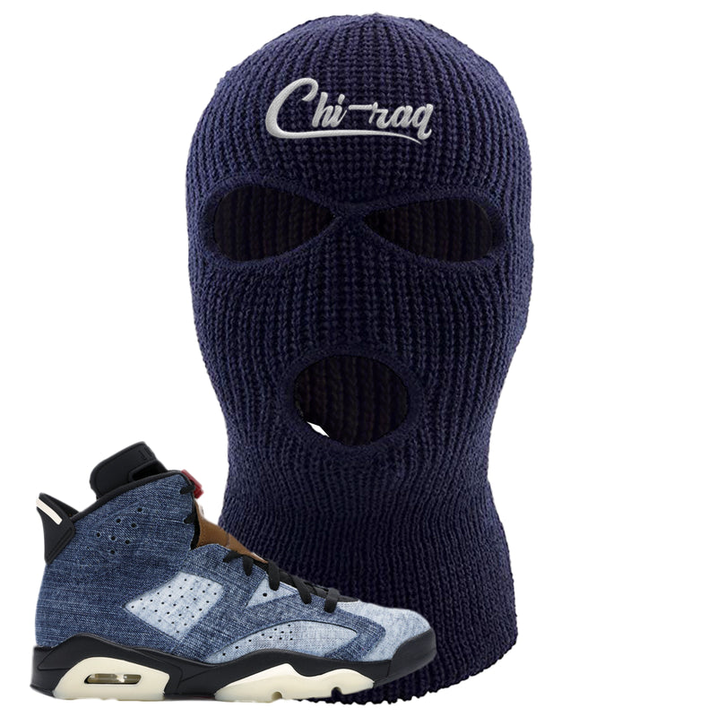 Jordan 6 Washed Denim Ski Mask | Navy Blue, Chiraq