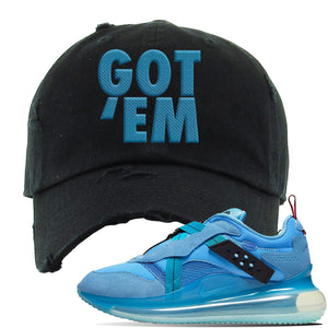 Air Max 720 OBJ Slip Light Blue Distressed Dad Hat | Black, Got Em