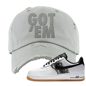 Air Force 1 Low Camo Distressed Dad Hat | Got Em, Light Gray