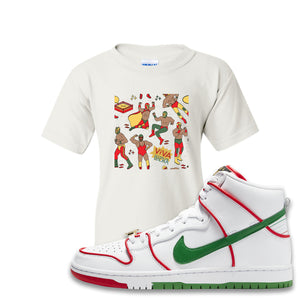 Paul Rodriguez's Nike SB Dunk High Sneaker White Kid's T Shirt | Kid's Tees to match Paul Rodriguez's Nike SB Dunk High Shoes | Luchadors