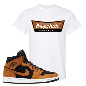 Air Jordan 1 Mid Wheat T Shirt | Krispy Kicks, White