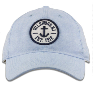 Wildwood, New Jersey Anchor Patch Light Blue Oxford Cloth Adjustable Baseball Cap