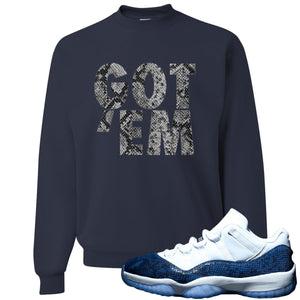 Jordan 11 Low Blue Snakeskin Got 'Em Navy Blue Crewneck Sweater
